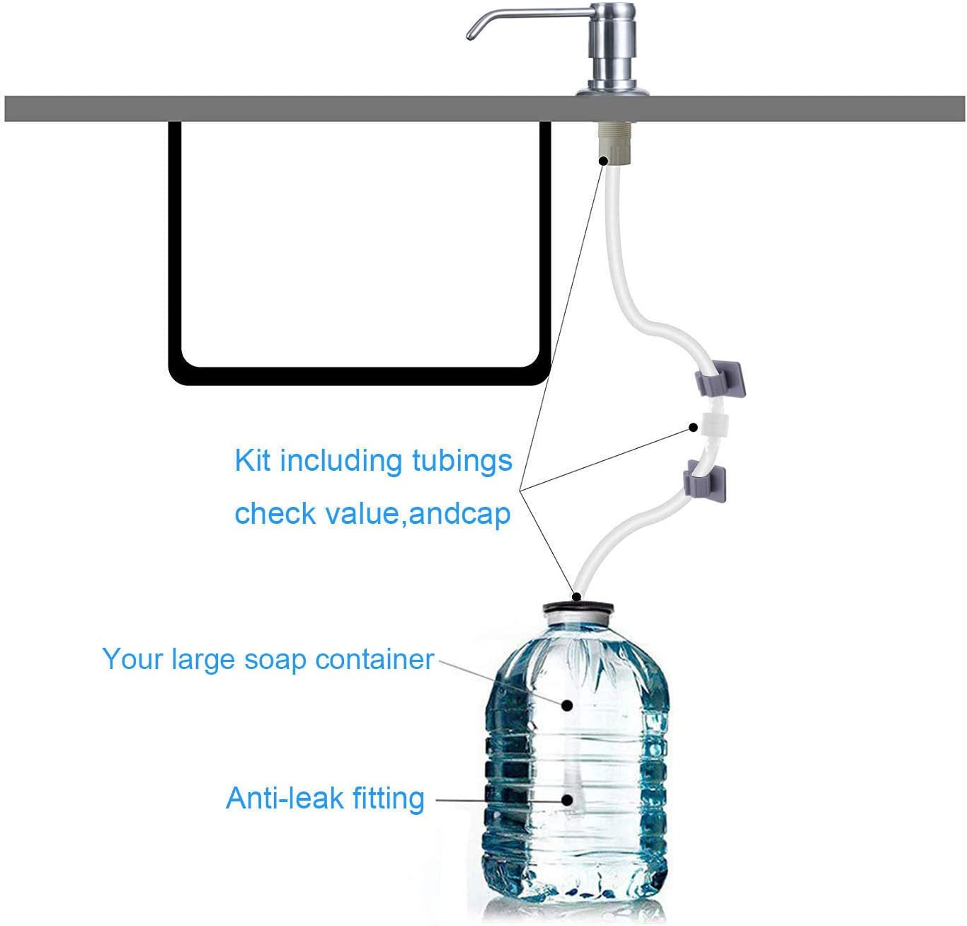 No Need To Fill The Little Bottle Again Soap Dispenser Tube Kit with Check Valve and 2 Bottle Stoppers Included Sink Soap Dispenser with 40 Extension Tube Kit Brushed Nickel