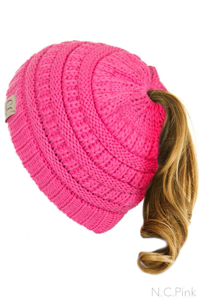 ScarvesMe C.C BeanieTail Kids Children's Soft Ponytail Messy Bun Beanie Solid Ribbed Hat (New Candy Pink)
