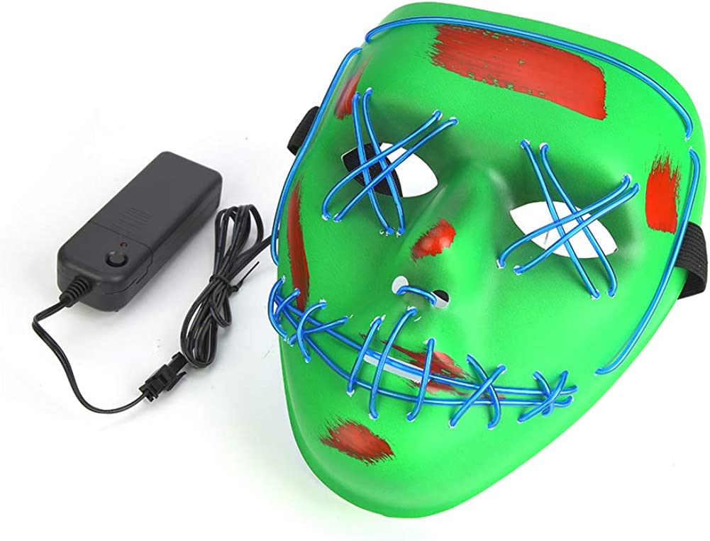 LED Halloween Mask Scary Costume Mask Clowns Masks with LED Strips 3 Light Modes