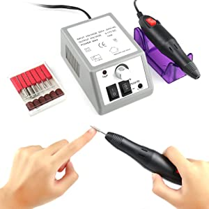 Electric Nail Drill Professional Manicure Pedicure Kit Gel Polish Acrylic File Finger Toe Nail Art Care Machine 20000RPM for Salon Home Use BLUETOP