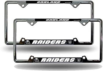 2 Oakland Raiders NFL EZ View Chrome Metal License Plate Frame Set NEW