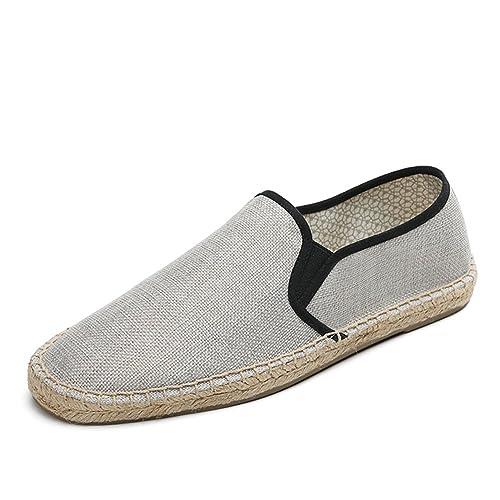 Estilo Chino Lona Zapatillas para Hombre Linen Espadrilles Gris Alpargatas: Amazon.es: Zapatos y complementos