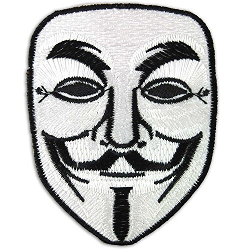 Vendetta Halloween Anonymous Fawkes Guy Mask Embroidered Iron