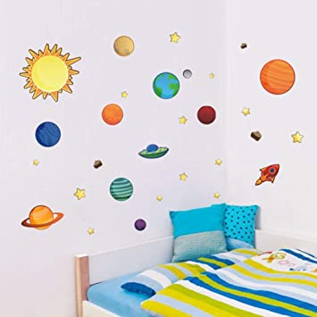 Usstore 1pc Solar System Planets Moon Cartoon Removable Wall Stickers Nursery Family Home Room Decor