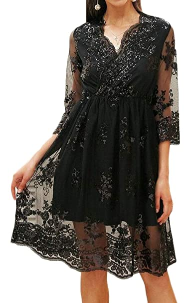8a99744427 SHOWNO Women s Glitter Sequins Sexy V-Neck Lace Mesh A-Line Cocktail Party Midi  Dress at Amazon Women s Clothing store