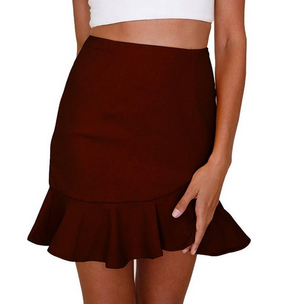 COMVIP Womens Summer Casual Ruffled High Waist Bodycon Zip Mini Skirts Red S