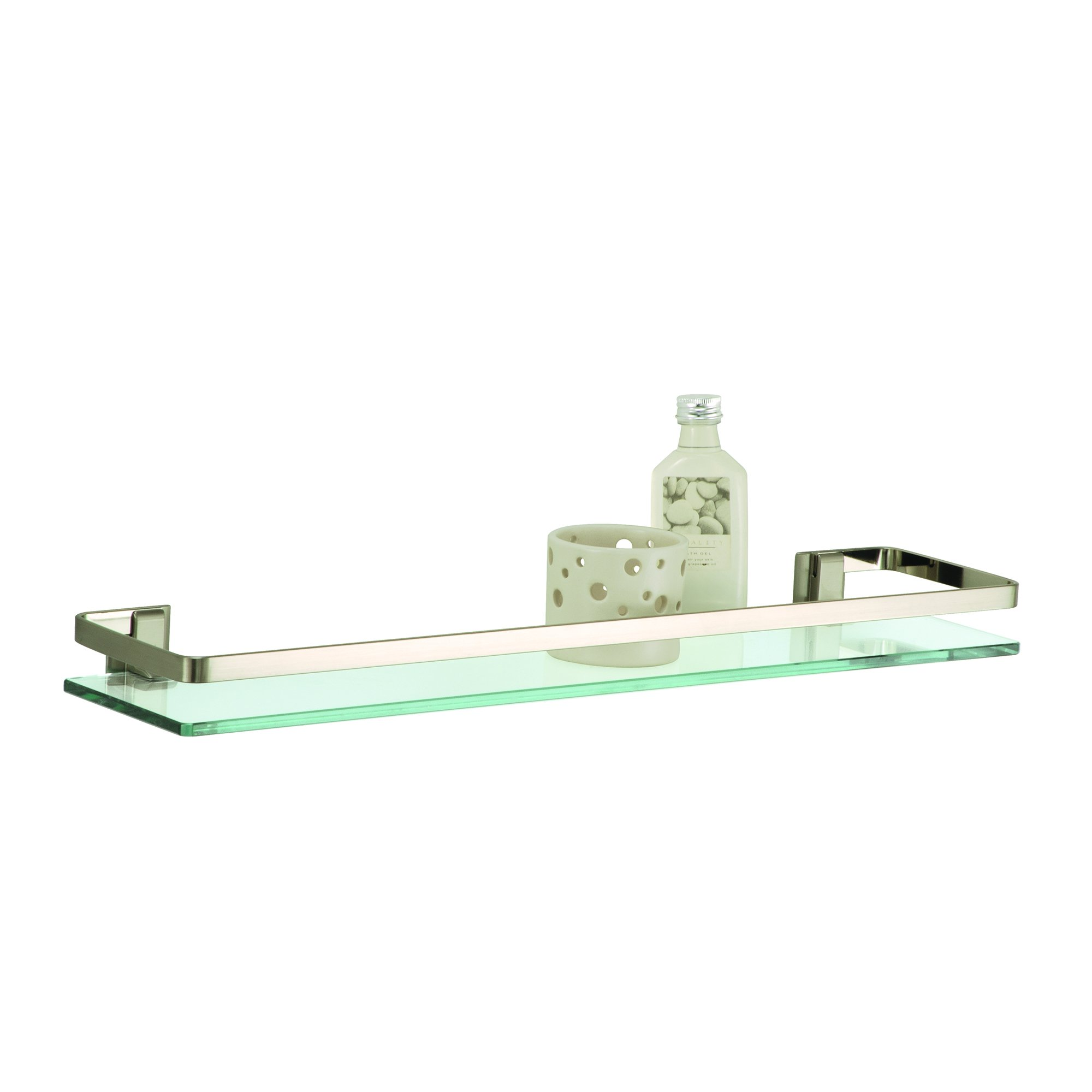 Organize It All Wall Mounting Glass Shelf with Nickle Finish and Rail by Organize It All