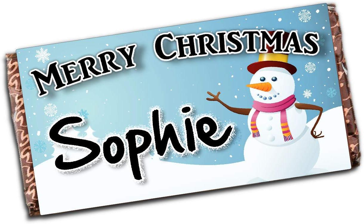 Personalised Merry Christmas Snowman 110g Milk Chocolate Bar Xmas Eve Kids Girls Boys Mum Dad Stocking Fillers Gift Ideas Present N50 Amazon Co Uk Kitchen Home