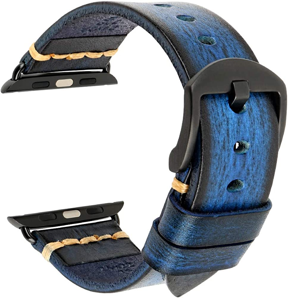 MAIKES Compatible with Apple Watch Band 44mm 42mm 40mm 38mm Handmade Genuine Leather Watch Strap Replacement Bands for iWatch SE Series 6 Series 5 Series 4 Series 3 Series 2 Series 1