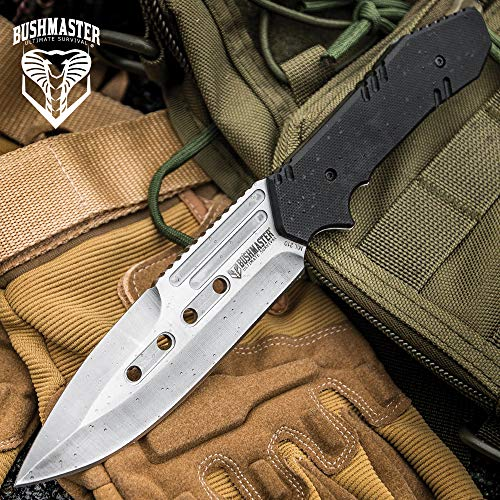 """Bushmaster Mission Ready Fixed Blade Knife and Sheath - 3Cr13 Stainless Steel, G10 Handle Scales - Length 8 1/2"""""""