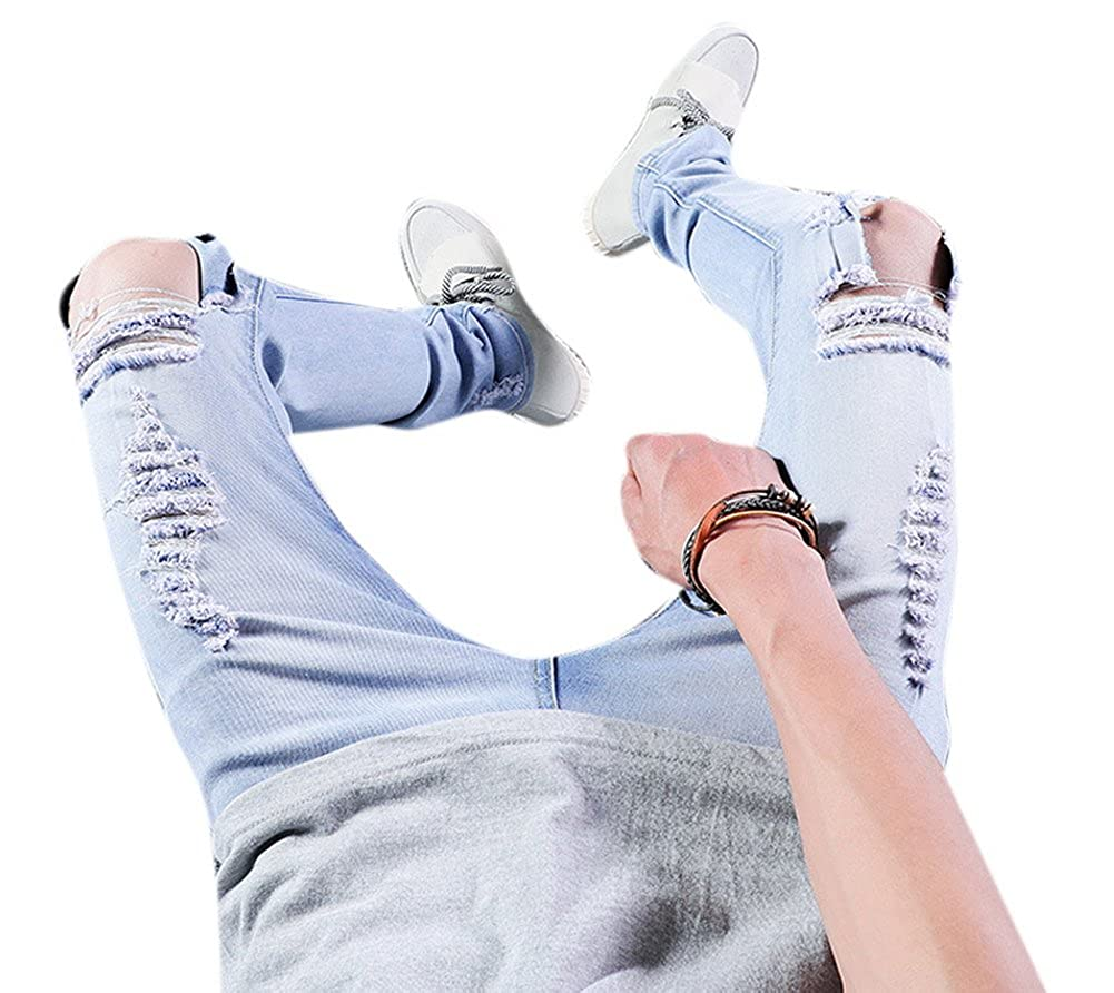 Mens Light Blue Stretch Destroyed Ripped Skinny Denim Jeans with Knee Open Rips