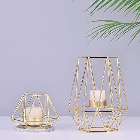 a2fecc1514 Metal Tea Light Candle Holders Kobwa Geometric Metal Wire Iron Tea Light  Candle Holder Lantern Wedding Holidays Events Party Decorations(Gold):  Amazon.ca: ...