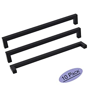 10Pack Goldenwarm Black Square Bar Cabinet Pull Drawer Handle Stainless Steel Modern Hardware for Kitchen and Bathroom Cabinets Cupboard,Center to Center 10in(256mm) Black Drawer Pulls