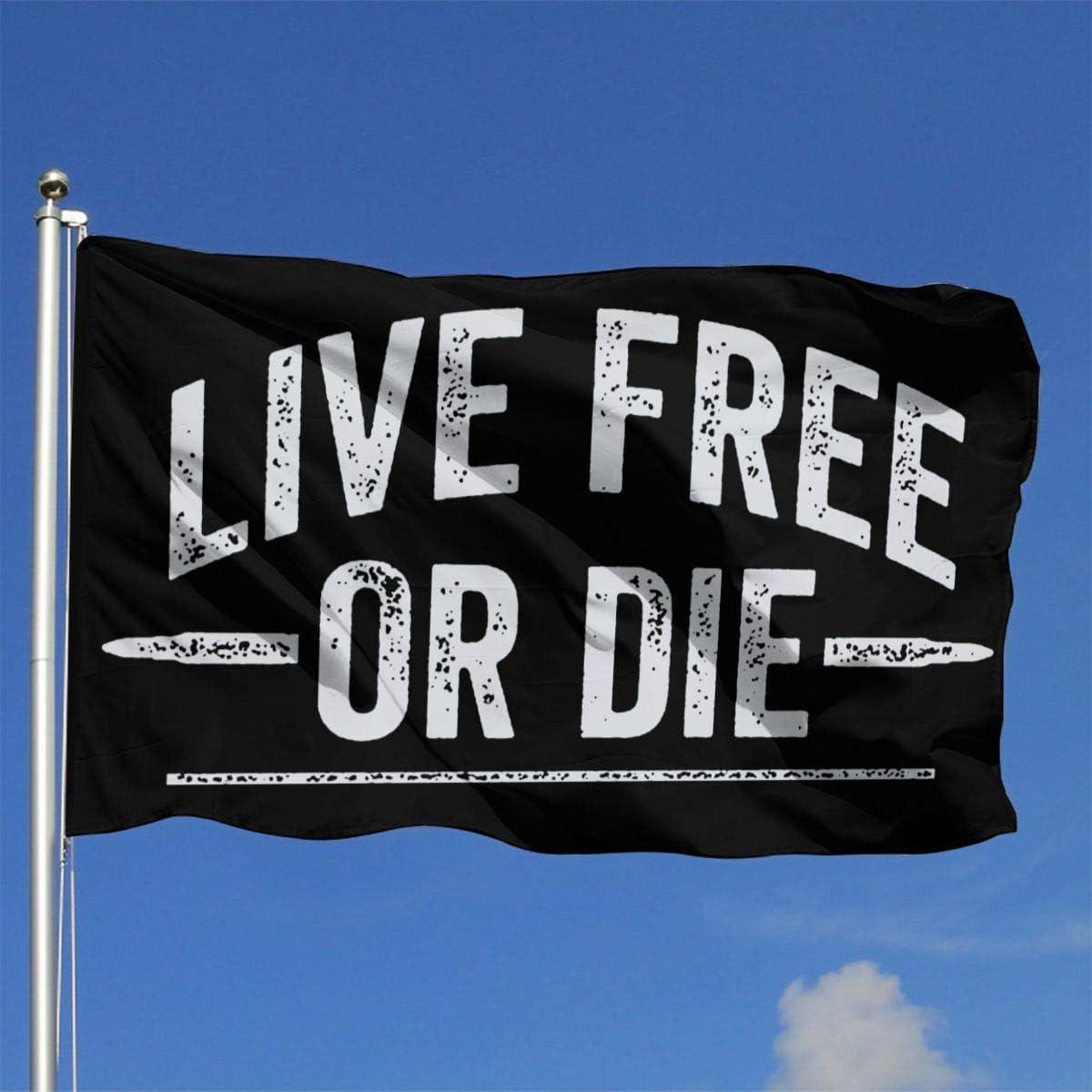 WENZI Live Free Or Die Outdoor Flag Home Garden Flag Banner Breeze Flag USA Flag Decorative Flag 4x6 Ft Flag