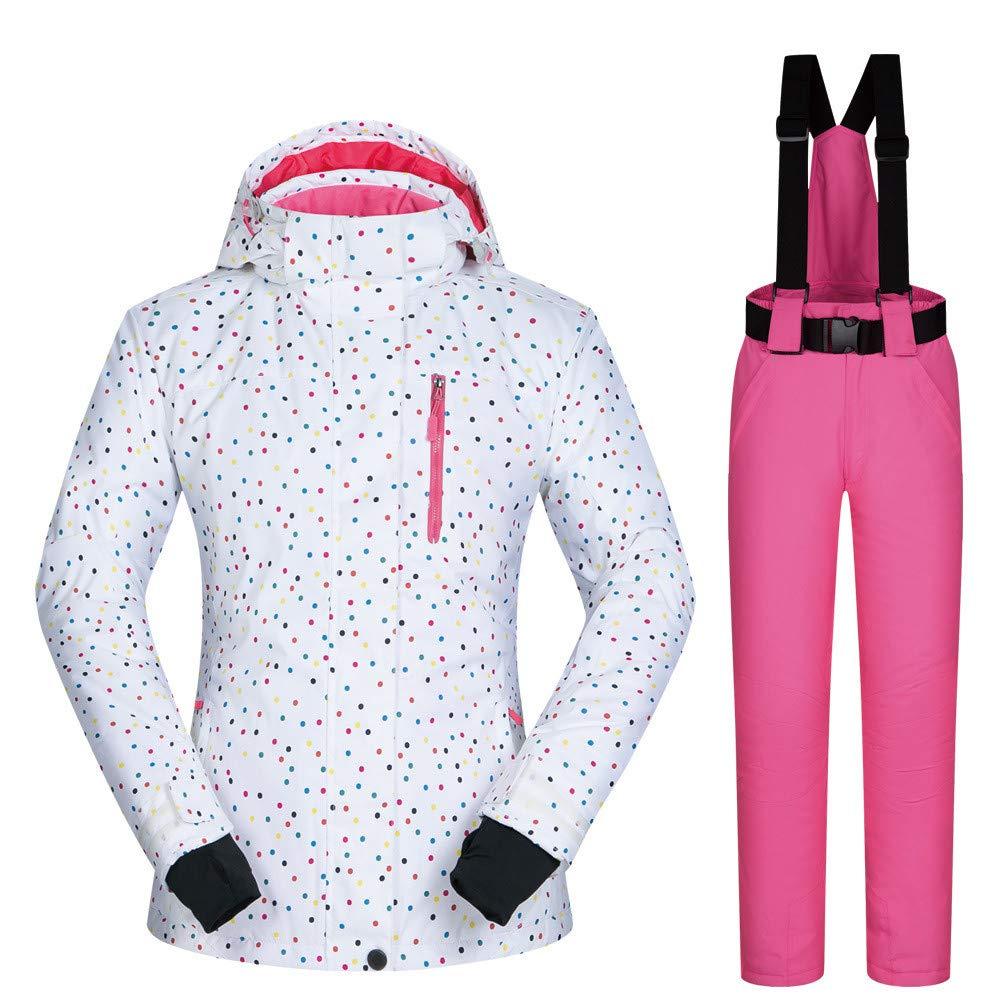 AUMING Skianzug Skijacke Winter Warme Frauen Mit Kapuze Pelzbesatz Schneeanzug Puffer Daunenjacke Mit Schnee Ski Latzhose Outfits (Farbe : Pink Pants, Größe : XL)