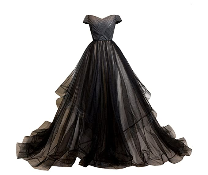 caf2b0160aa5 Amazon.com  LYNBRIDAL Women Black Wedding Evening Dress Ball Gown Tulle Long  Prom Dresses Off Shoulder  Clothing