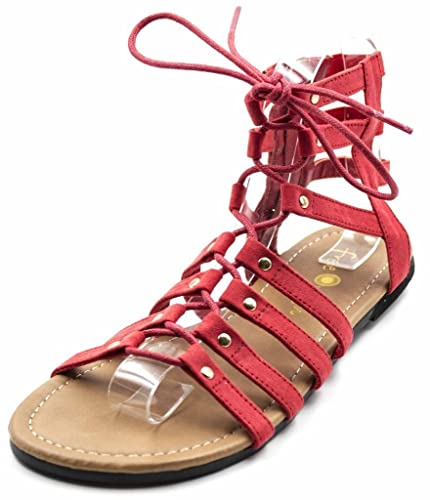 84154281 Amazon.com | Orly Shoes Women's Wide Width Strappy Lace Up Gladiator Sandal  in Red Size: 7W | Sandals