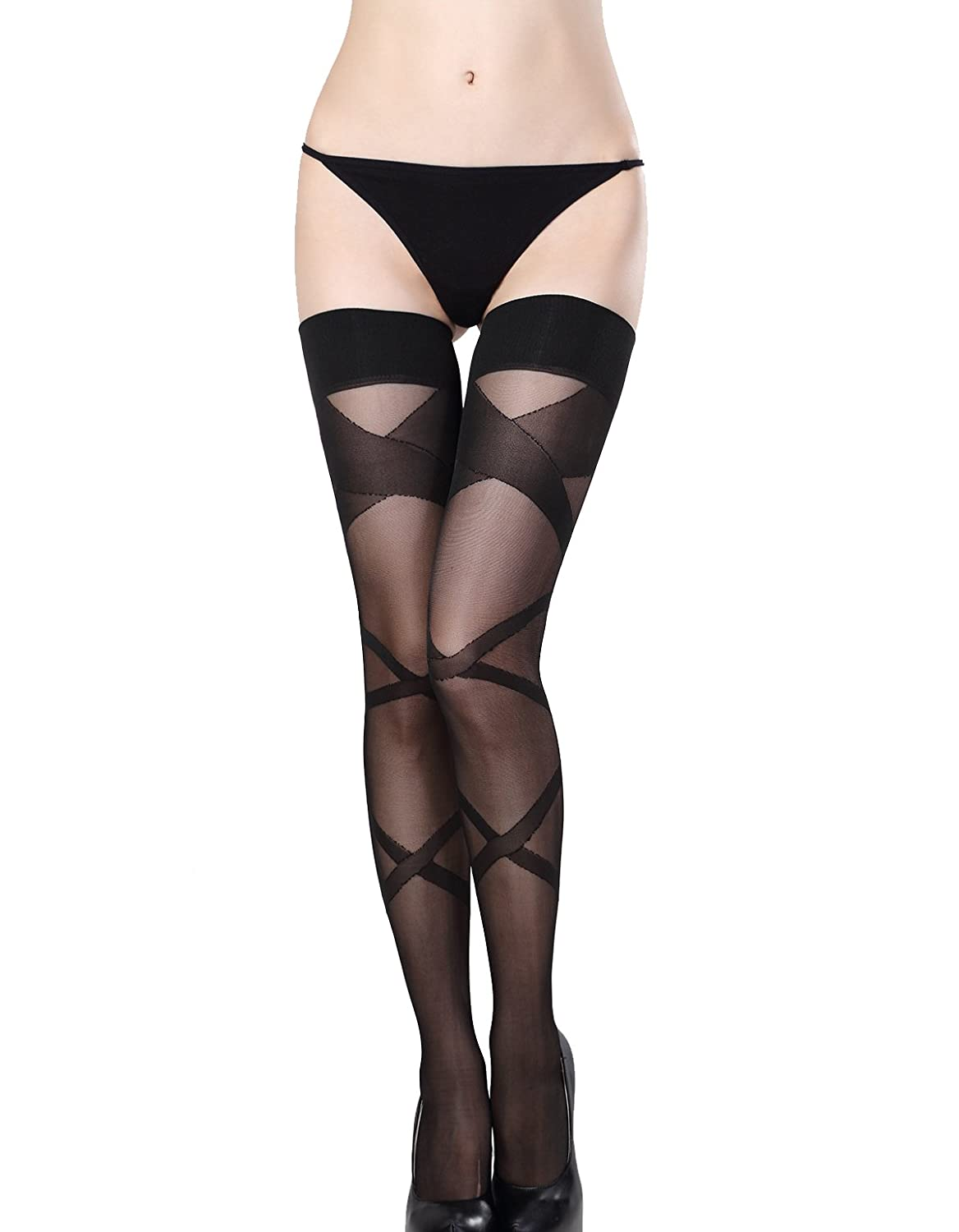 ThreeH Black Sheer Tights Thigh-High Stockings Low Pantyhose for Women (NO G-String) H-K30101