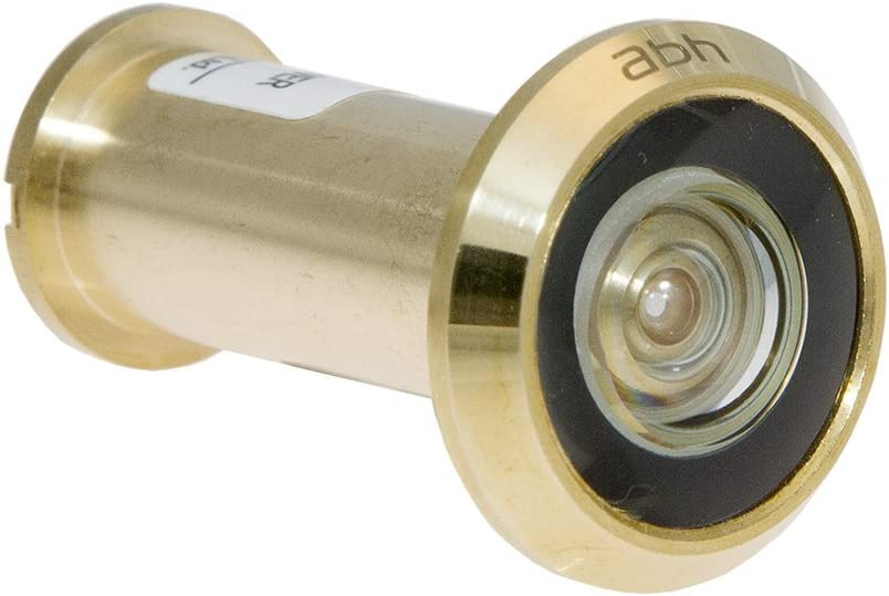 ABH Solid Brass 180 Degree Peephole Door Viewer Glass Lenses Polished Brass