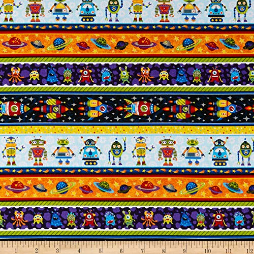 Fabri-Quilt Paintbrush Studios Launch Party Stripes Robots Planets Monsters Rockets Multicolored, Fabric by the Yard