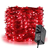 red christmas tree ER CHEN Fairy Lights Plug In, 99Ft/30M 300 LED Silver Coated Copper Wire Starry String Lights Outdoor/Indoor Decorative Lights for Bedroom, Patio, Garden, Party, Christmas Tree (Red)