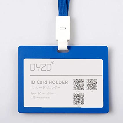 dyzd id card holder plastic id badge holder id holder with breakaway necklace lanyards horizontal type - Plastic Id Card Holder