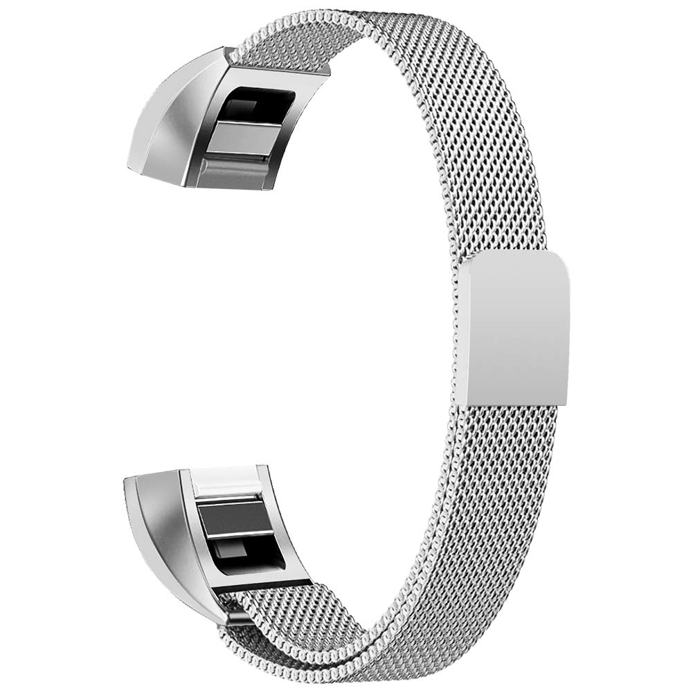 Oitom Bands Compatible Fitbit Alta HR Accessory/Fitbit Alta/Fitbit Alta Ace,Stainless Steel Magnet Replacement Bands,(2 Size) Large Small (12 Color) Silver Black Rose Gold Pink Blue Brown Rainbow