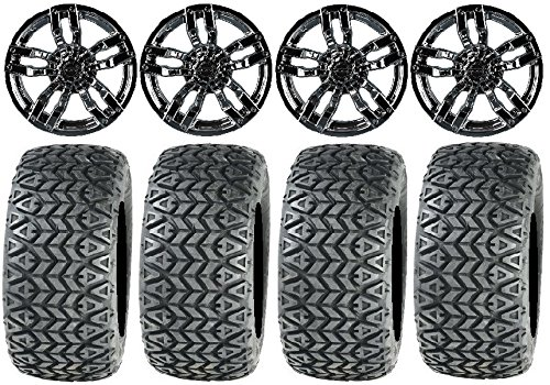"Bundle - 9 items: Madjax Velocity Chrome Golf Wheels 12"" 23x10-12 All Trail Tires"