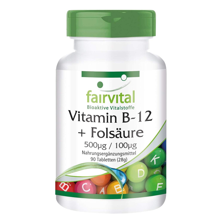 Vitamina B-12 con ácido fólico - Bote para 3 meses - VEGANO - Alta dosificación - 90 comprimidos: Amazon.es: Salud y cuidado personal