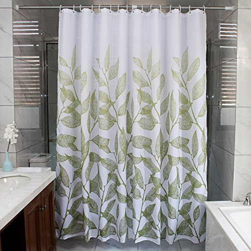 Ufaitheart 36 by 78-Inch Bathroom Shower Curtain for Kid's, Waterproof and Mildew-Free Fabric Shower Curtain Set, Green Branches and Leaves on White Background