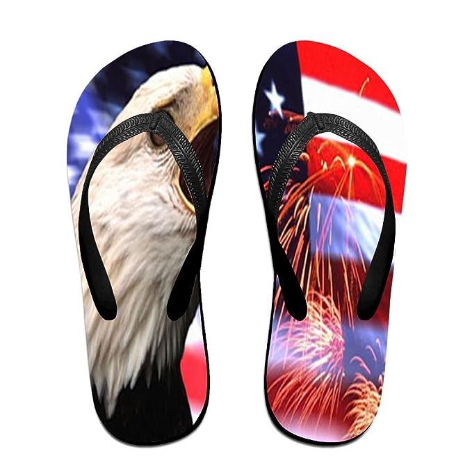 Unisex Non-slip Flip Flops Eagle Firework Usa Flag Cool Beach Slippers Sandal