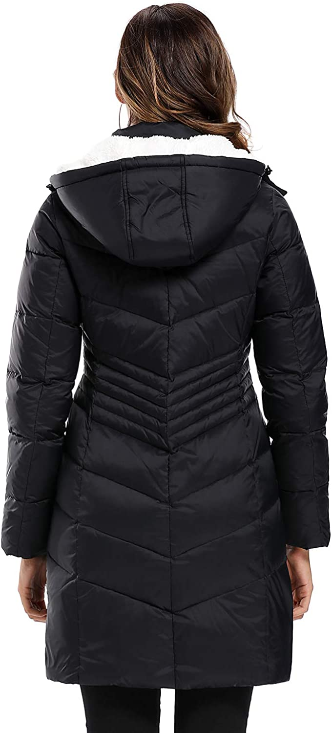 Caistre Womens Thickened Hooded Winter Down Jacket Outwear Puffer Down Coats with Pockets