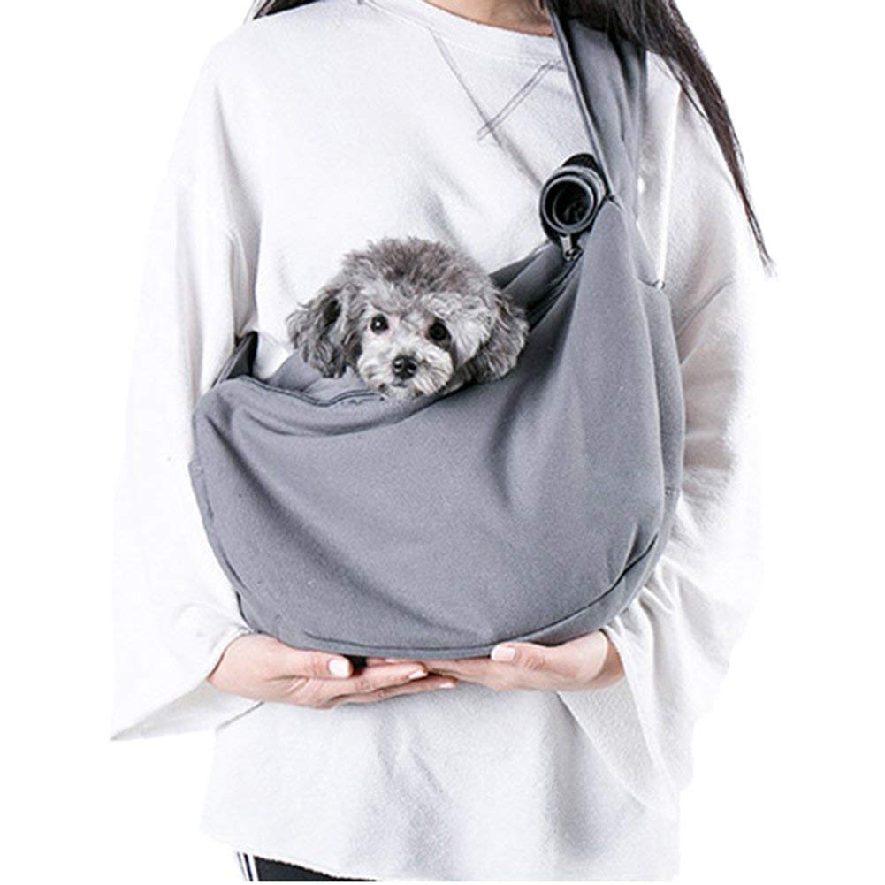 Pettom Small Dog Carrier Sling Cat Sack Wrap Satchel Hands Free Adjustable Reversible Single Shoulder Kitten Pouch Pet Papoose Swaddle Bag