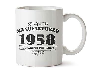 Novedad impreso tazas fabricado 1958 60th cumpleaños taza de café regalo, Blanco …
