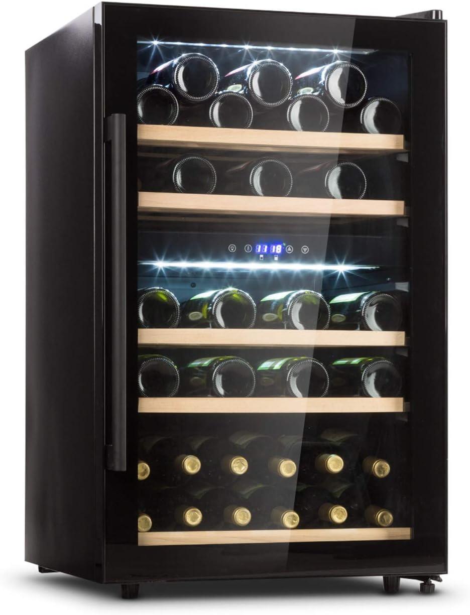 KLARSTEIN Barossa 40D - Nevera con Puerta acristalada, Nevera para vinos, 2 Zonas, 135 L, 85 W, 41 Botellas, 5-18 °C, 5 Rejillas Madera, Vino Blanco y Tinto, Asa de Acero, Negro