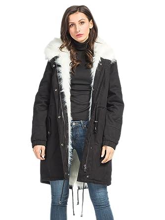 efe260012 Choies Women's Black/White Hooded Winter Parka Coats Detachable Faux Fur  Outdoor Coat