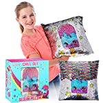 """GirlZone Gifts for Girls: Sequin Reversible Glitter Cushion (Including Internal Pillow), 16"""" x 16"""", Great Birthday Present Idea for Girls Age 5 6 7 8 9+"""