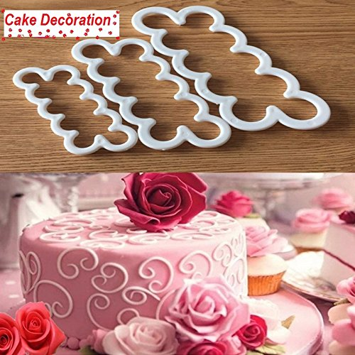 3pcs/set Rose Flower Cookie Cutter Fondant Cake Decorating Tools Sugarcraft Biscuit Cutter for Kitchen Baking (Halloween Biscuit Decorating Ideas)