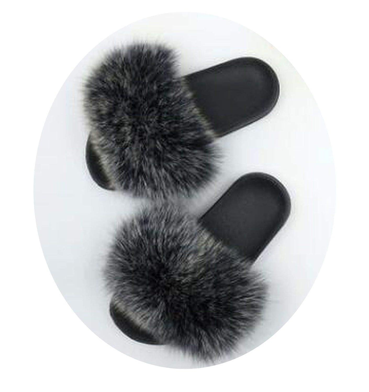 Womens Furry Slippers Ladies Cute Plush Fox Hair Fluffy Fur Winter Warm Women Hot 35-45
