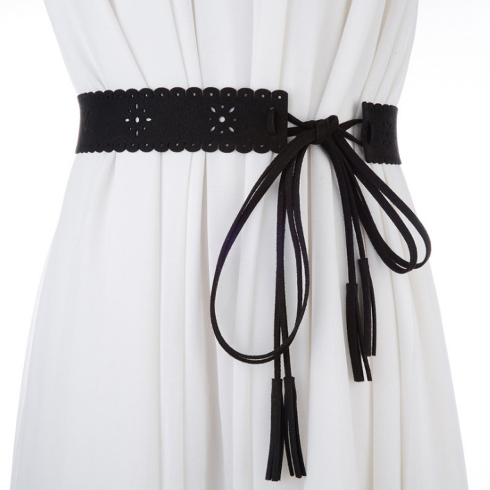 Zhhlinyuan Elegant Hollow Flower Wide Belts Women Tie Tassel Skirt Waistband Girdle