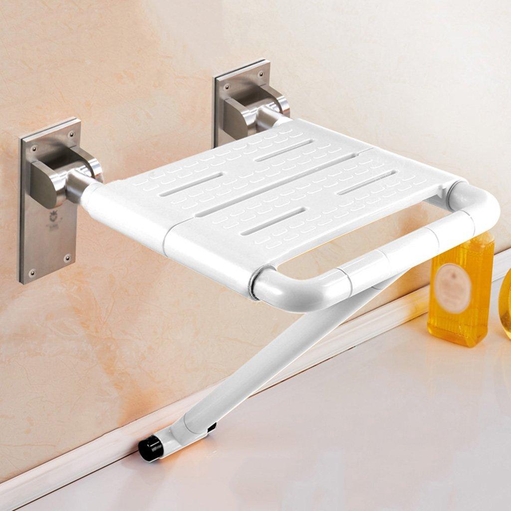 WSSF- シャワーチェア バスルームの折りたたみ式の椅子の壁のシャワールームのスツールポータブルノンスリップの高齢者のバリアフリーのバスチェアの色オプション、40.5 * 45.5 * 51.5cm (色 : 白) B07B7L18TN  白