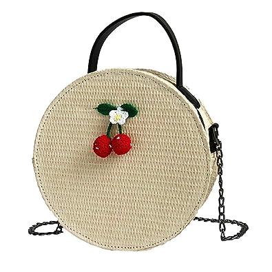 8f43c42c51 JIANGfu Femme mode Sac à Main Cabas Femme Sac de messager Mode femmes  Vintage bandoulière sacs sac à bandoulière simple tissage rond sac à main  (Beige): ...