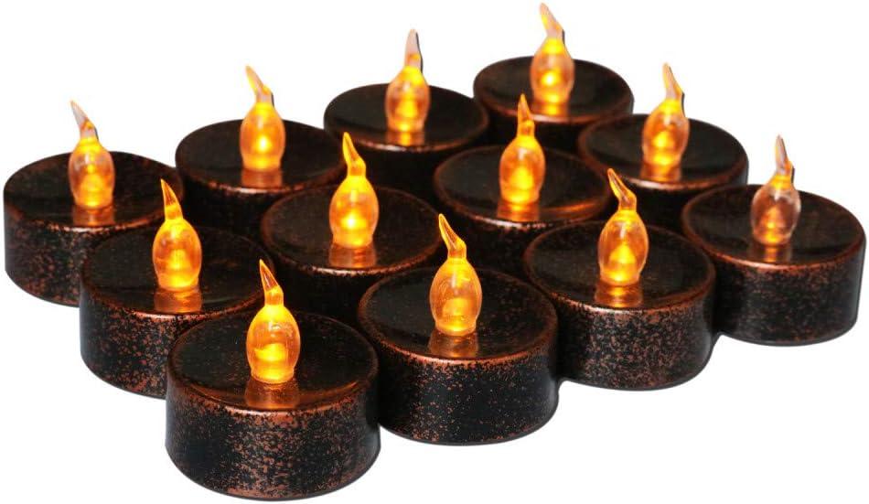 QYC Bougies D/écorations,LED Vacillante Bougies,Lumi/ère de Th/é,LED Lumi/ère de Th/é,Sans Flamme Bougies,Inclure Batterie,pour Festivals,No/ël,P/âques,Anniversaire Party,Mariage,Restaurant,etc,12 pcs