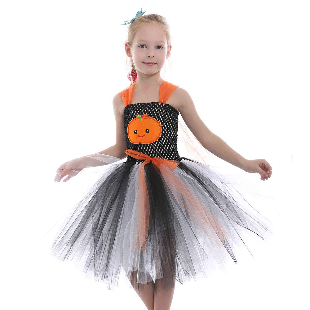 Veepola Baby Girl's Sleeveless Two-Color Halloween Costume Pumpkin Tutu Dress