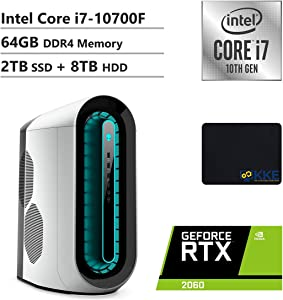 Alienware R11 Gaming Desktop, Intel Core i7-10700F, NVIDIA GeForce RTX 2060, 64GB DDR4 Memory, 2TB PCIe Solid State Drive + 8TB HDD, WiFi, HDMI, KKE Mousepad, White/Lunar Light