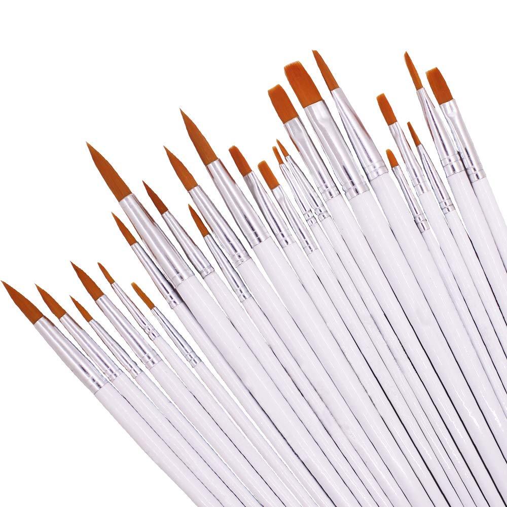 Set di pennelli in nylon, Dakuan 24pz Premium acrilico Brush Pen Bulk, rotonda e piatta tipo, painting Brush Kits for Artist, Kids, Classroom.