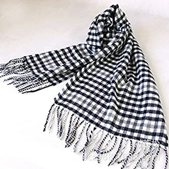 Lingswallow Mens Winter Warm Fashion Plaid Cashmere Scarf Super Soft Wrap Scarf