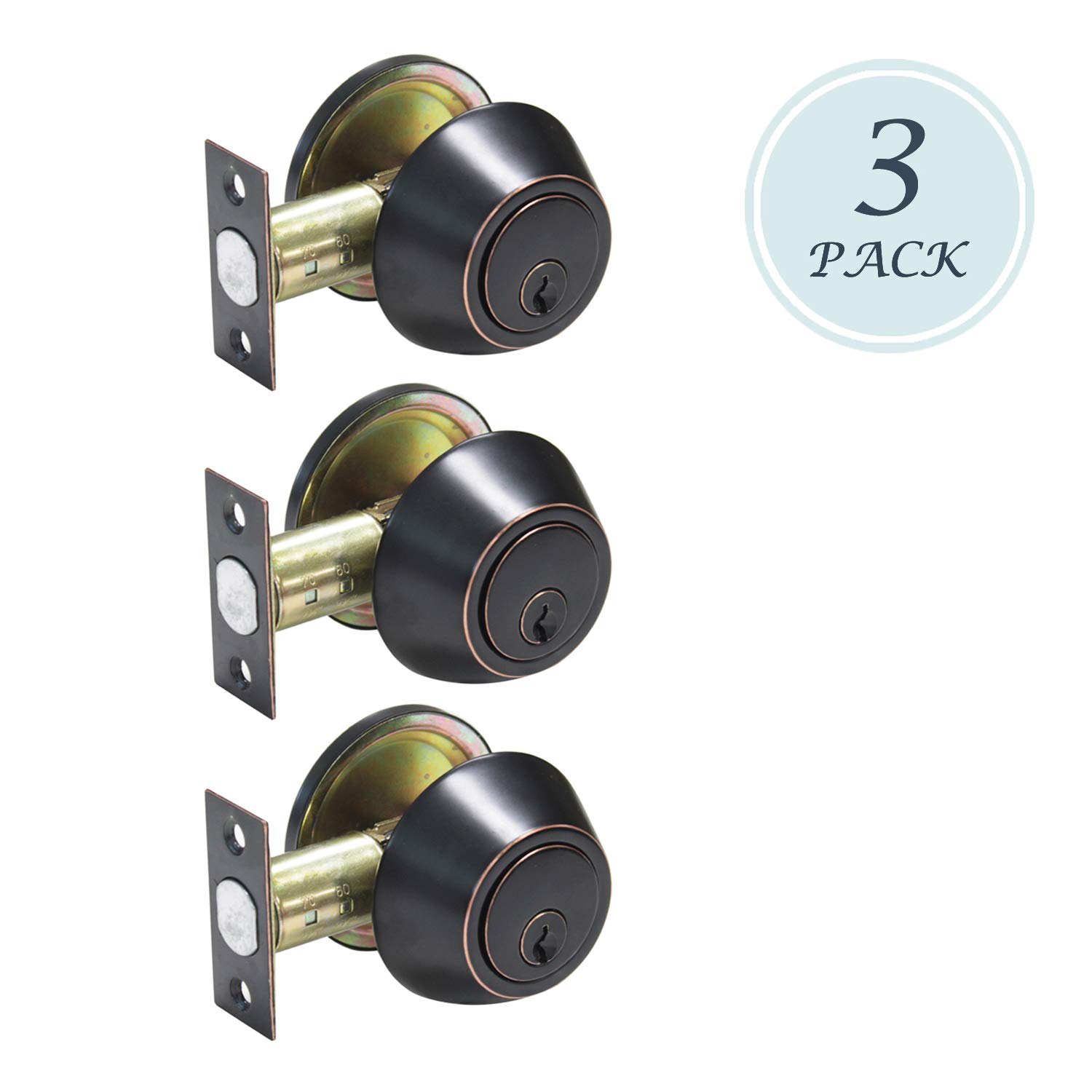 Keyed Alike Oil Rubbed Bronze Single Cylinder Deadbolt For Exterior Doors/Keyed Entry Doors, Thumb Turn Button Inside And Key Outside, 3 Pack