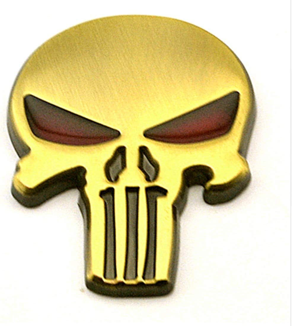 Auto Decor 3D Skull Car Metal Emblem Badge Decal for Car and Motorcycle Waterproof and Sun Protection for Car Door Body Window LOHO WONDERZ Punisher Decals 2- Pack Extra Durable Zinc Alloy