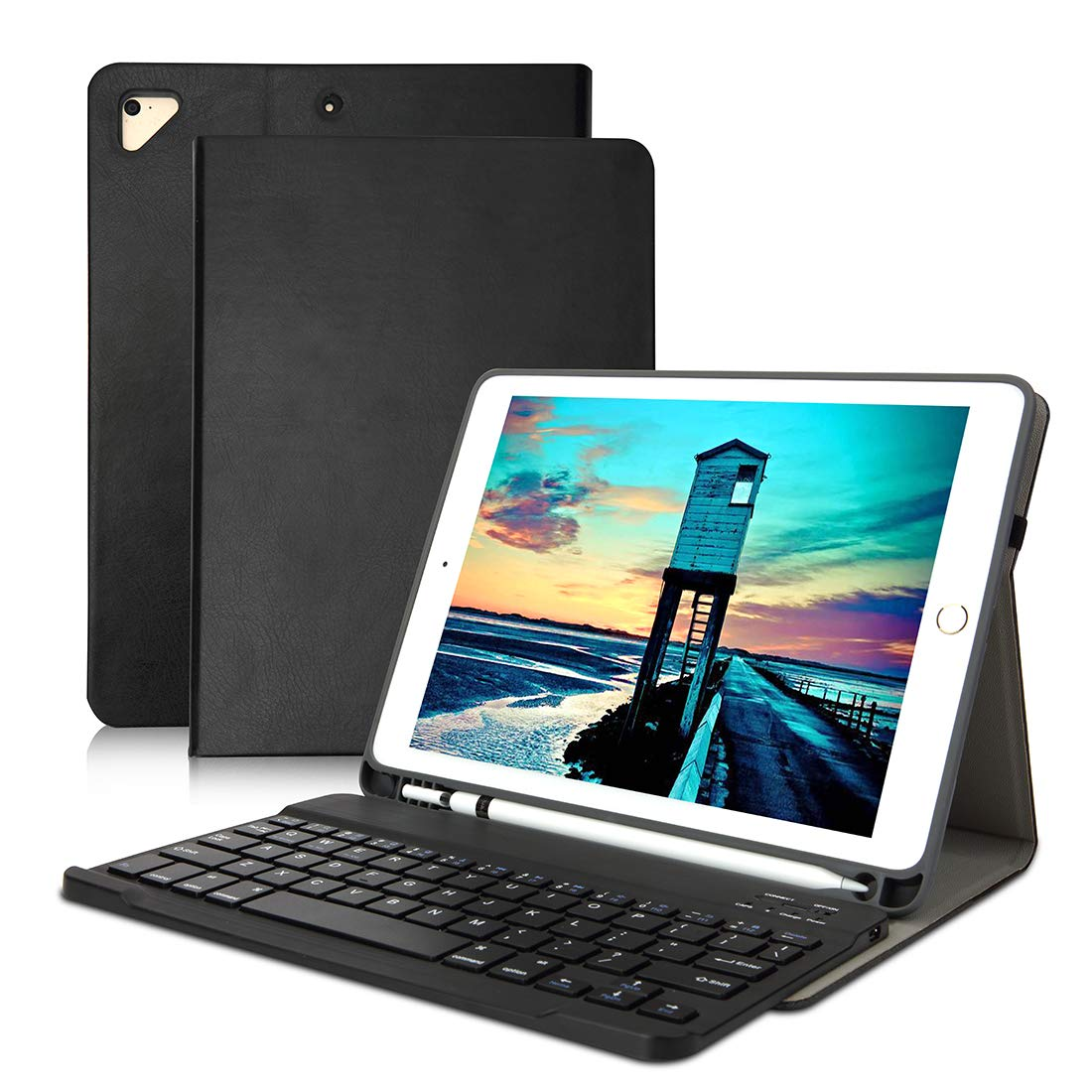 JOSITIN iPad Keyboard Case 9.7 with Detachable Wireless Bluetooth Keyboard Cover Built-in Pencil Holder for iPad 2018(6th Gen) iPad 2017(5th Gen) iPad Pro 9.7 iPad Air 2 & 1 Black
